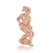 14k Fine Rose Gold Female Soccer Ball Player Football Futbol Sports Pendant