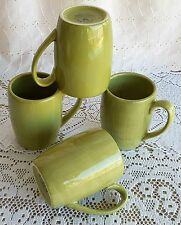 Set of 4 Tabletops Unlimited Espana Chartreuse Lime Green Coffee Mugs 18 Ounce