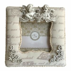 """Angel Padded Fabric Sculpture Shabby Chic Free-standing 3"""" x 3"""" Photo Pic Frame"""