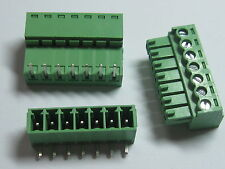 12 pcs Screw Terminal Block Connector 3.5mm Angle 7 pin/way Green Pluggable Type
