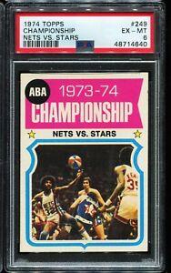 1974 Topps Basketball #249 ABA CHAMPIONSHIP Nets Vs Stars PSA 6 EX-MT