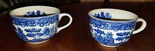 "Vtg White & Blue ""Willow"" Transferware Pattern Pair of Tea Cups Japan RKC"