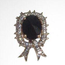 Statement Pin Brooch Pendant Sparkling Rhinestone Metallic Black Crystal Vintage