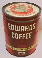 Old Vintage 1950s DWIGHT EDWARDS COFFEE KEYWIND COFFEE TIN 2 POUND + COUPONS LID