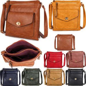Ladies Cross Body Messenger Shoulder Over Bag Satchel Womens Handbag Turn Lock