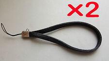 2 Leather Hand Wrist Strap Camera, Mobile, iPad, iPod , MP3 - Black - UK Stock