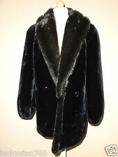 VINTAGE HILLMOOR NEW YORK  WOMEN'S BLACK THICK FAUX FUR COAT SIZE SMALL