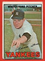 1967 Topps #5 Whitey Ford GOOD+ CREASE HOF New York Yankees FREE SHIPPING