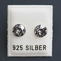 NEU 925 Silber OHRSTECKER 8mm SWAROVSKI STEINE silver patina/silber OHRRINGE