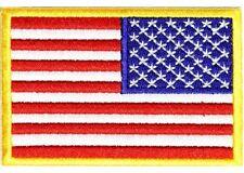 "(B8) 3"" x 2"" REVERSED AMERICAN FLAG iron on patch (1480) Biker Vest cap"