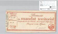 MANDAT TERRITORIAL - 100 FRANCS (AVEC LE N° DE SERIE) 28 VENTOSE AN 4