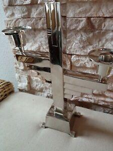 Kerzenleuchter Kerzenständer Silber Art Deco Bauhaus Kandelaber 3 flammig H.32cm