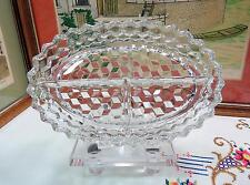 """VINTAGE FOSTORIA #2056 AMERICAN CLEAR OVAL 3 PART 10 3/8 """" RELISH DISH 1915-1982"""