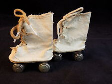 Antique Doll Roller Skates 1950's Tiny Lace up Canvas skates for Dolls