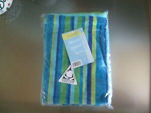 BNIP 'WAIKIKI' 100% Egyptian Cotton Blue & Green Striped Beach Sport Bath Towel