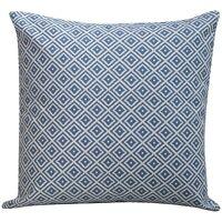 """Scandi Geometric Ikat Cushion in Denim Blue. Double Sided Blue & White. 17x17"""""""