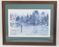 Vintage Fishing Print Arthur Taylor Hatchery Pool Grand Lake Stream Maine Framed