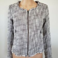 Joie Collins Tweed Fringe Jacket Blazer Zipper Career Work Size XS