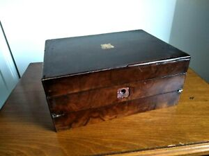 ANTIQUE WRITING SLOPE WOOD BOX WITH BRASS TRIM AND INK WELLS