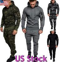 Man/'s Tracksuit Sweatshirt Trousers Fitness Gym Hood Zip Sport New S6606