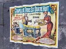 RARE AFFICHE ANCIENNE  Chapellerie Trois Six Quatre Huit - NO AIR FRANCE - 1900