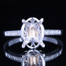 STERLING SILVER SEMI MOUNT BRILLIANT DIAMOND ENGAGEMENT WEDDING RING 7X10MM OVAL