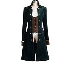 New $155 Neo-Ludwig Steampunk Velvet Coat Fits US XS Dark Green Brown Goth