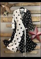 New York & Co Black 🖤 White Polka Dot Wrap Dress NWT XL 1X