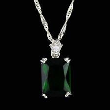 Women's Solitaire Pendant Necklaces Green Emerald 14K White Gold Finish