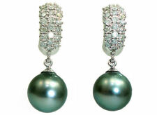 White Gold Tahitian Pearl Fine Earrings