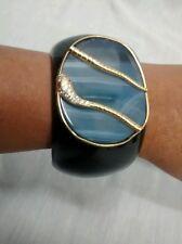 Runway  statement Isharya blue agate snake gold plate black cuff bracelet
