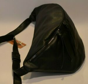 Borsa da donna a spalla modello marsupio grande in pelle ecologica colore nero