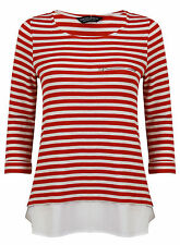 Ex Dorothy Perkins Red White Striped Knitwear Jumper 2in1 Size 8-20