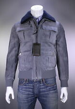 NWT New * BRIONI * $9475 Current Gray Suede Shearling Fur Bomber Jacket 40/Med