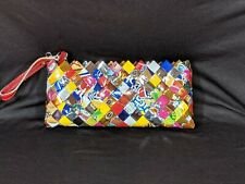 NAHUI OLLIN CANDY WRAPPER WRISTLET CLUTCH  RED PATENT LEATHER STRAP ZIP TOP NWOT