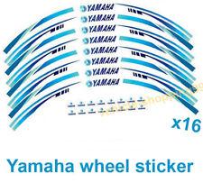 Yamaha Wheel Sticker Blue Reflective Motorcycle Rim Moto Decal Tape Stripe 16pcs