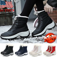 Women Winter Outdoor Snow Boots Ladies Lace up Fur Lined Warm Waterproof Shoes