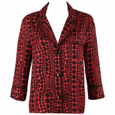 "LOUIS VUITTON c.2012 YAYOI KUSAMA Red ""Pumpkin Dots"" Silk Blouse Shirt Jacket"