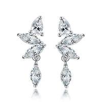 925 Sterling Silver Zirconia Horse Eye Drop Dangle Earrings Women Jewelry Gifts