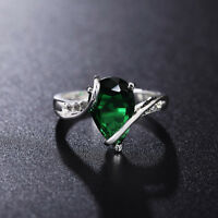 925 sterling silver Fashion Cute nice green lady women Crystal Rings Jewelry