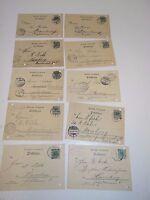 10 Postkarten Deutsche Reichspost von 1898 bis 1910 gelaufen K13