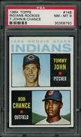#146 Bob Chance / Tommy John Rookie Card 1964 Topps #146 PSA 8