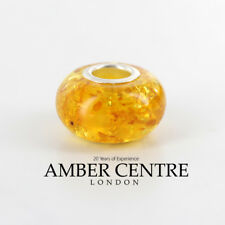 Genuine Amber & 925 Silver Charm For European Charm Bracelets RRP£40!!! CHA55