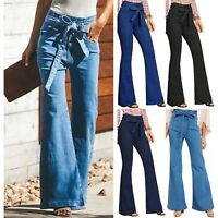 Fashion Womens Flare Denim Jeans High Waist Bell Bottom Stretch Pants Trousers