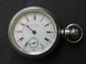 1877 American Waltham Appleton Tracy Co Sterling EngravedCase Pocket Watch 18s