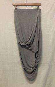 All Saints Grey Ruched Unique Jersey Skirt Hi-low Asymmetric Size UK 12 (003)