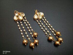 Traditional Ethnic Gold Tone Beads Jewelry Kundan Earrings Drop Dangle Tops-