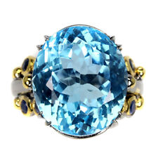 Handmade Oval Swiss Blue Topaz 20.13ct Sapphire 925 Sterling Silver Ring Size 7