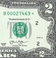 2013 $2 **STAR** (~NEW YORK~) CRISP UNCIRCULATED! Old US Paper Money Currency!