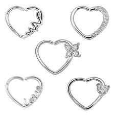 2pcs Heart CZ Nose Ring Piercing Hoop Earring Helix Cartilage Tragus Daith NEW